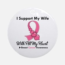 Breast Cancer Support Wife Ornament (Round)