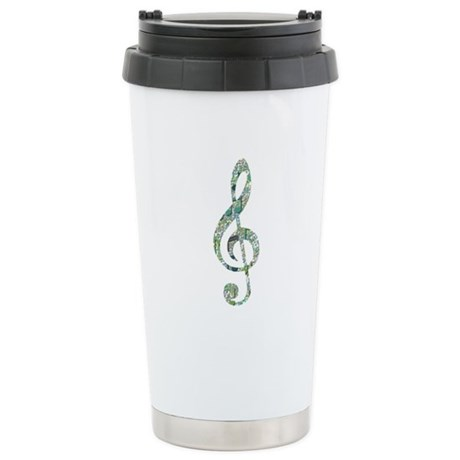 Green Notes Treble Clef Stainless Steel Travel Mug