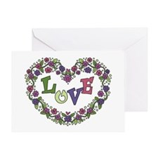 Pink, Purple Love Heart Greeting Card