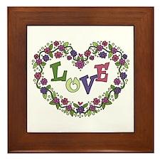 Pink, Purple Love Heart Framed Tile