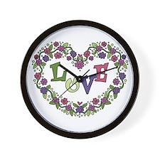 Pink, Purple Love Heart Wall Clock