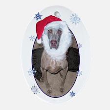 Santa Bluesy w/ Snowflakes 05 Oval Ornament