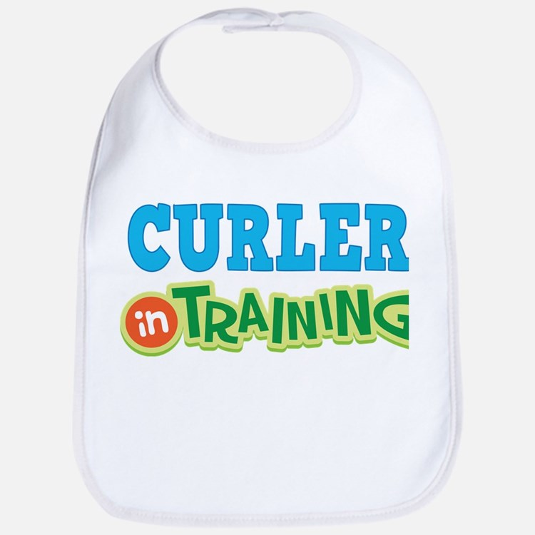 Curler in Training Baby Bib