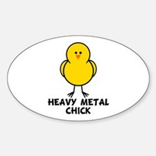 Heavy Metal Chick Oval Decal