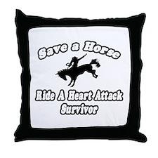 """""""Ride Heart Attack Survivor"""" Throw Pillow"""