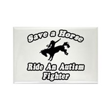 """Ride an Autism Fighter"" Rectangle Magnet"
