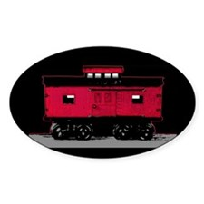 Red Caboose Oval Decal
