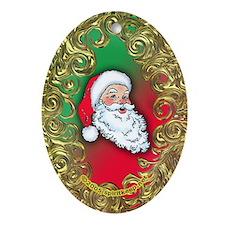 Santa Face Flilgree Oval Ornament