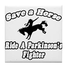 """Ride Parkinson's Fighter"" Tile Coaster"