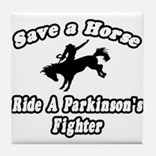 """Ride Parkinson's Fighter"" Tile Coaster"