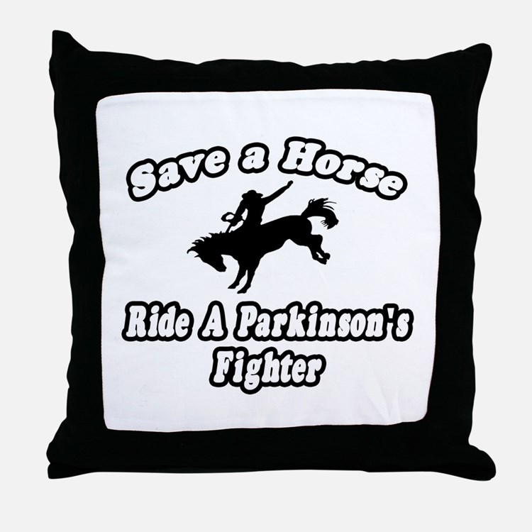 """Ride Parkinson's Fighter"" Throw Pillow"