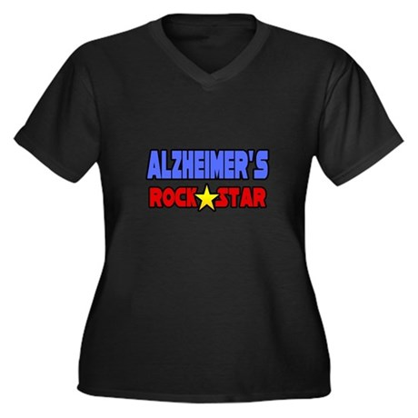 """Alzheimer's Rock Star"" Women's Plus Size V-Neck D"