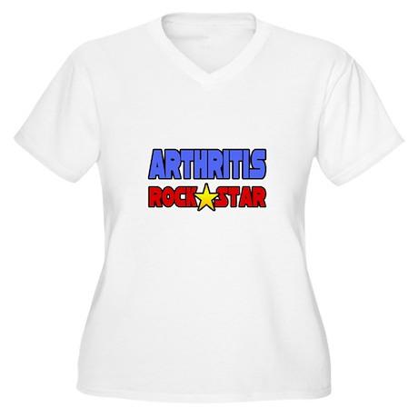 """Arthritis Rock Star"" Women's Plus Size V-Neck T-S"