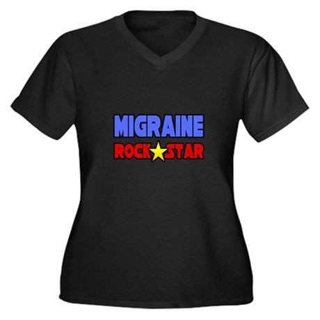 """Migraine Rock Star"" Women's Plus Size V-Neck Dark"