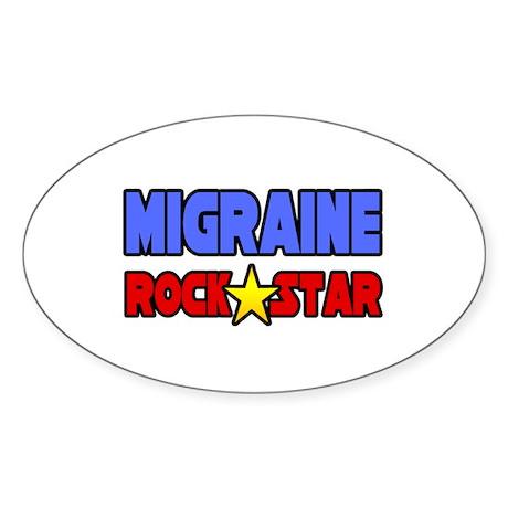 """Migraine Rock Star"" Oval Sticker (10 pk)"