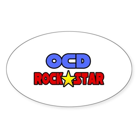"""""""OCD Rock Star"""" Oval Sticker"""