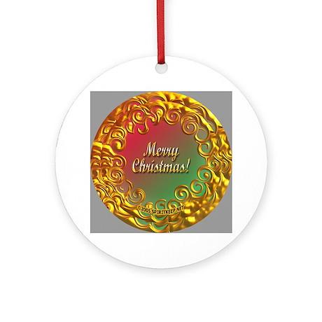Golden Filigree Merry Christmas Ornament (Round)