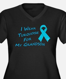 I Wear Turquoise for My Grand Women's Plus Size V-
