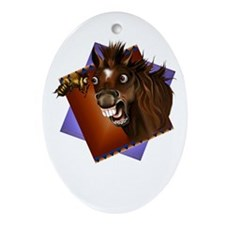 Horse and Bee Expressions Oval Ornament