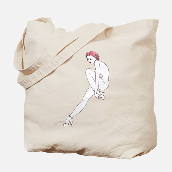 red haired vintage pinup eco shopping beg