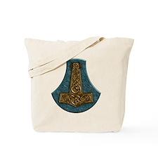 Thors Hammer on Green Stone Tote Bag
