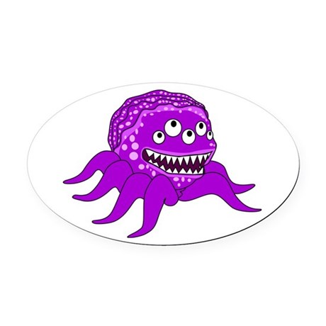 Purple Octopus Monster Oval Car Magnet