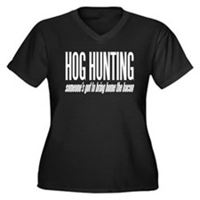 Hog Hunting Women's Plus Size V-Neck Dark T-Shirt
