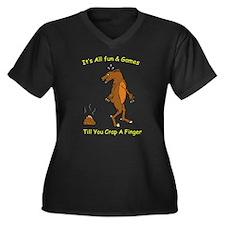 crap a finger Women's Plus Size V-Neck Dark T-Shir