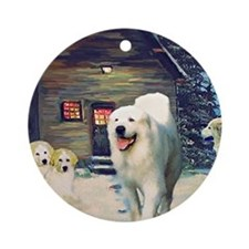 Great Pyrenees Christmas Ornament, Wintercottage
