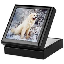 Great Pyrenees Keepsake Box, Winter Wood