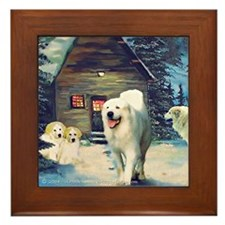 Great Pyrenees Framed Tile, Wintercottage