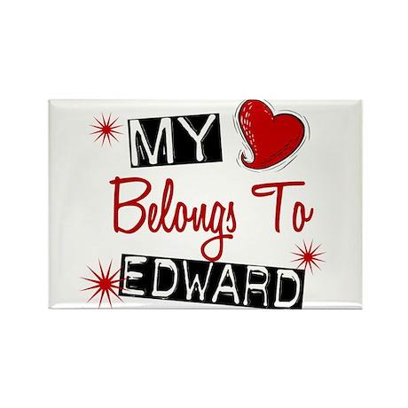 My Heart Belongs To Edward Rectangle Magnet (100 p