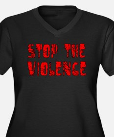 Stop The Violence Women's Plus Size V-Neck Dark T-