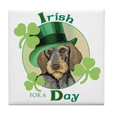 St. Pat Wirehaired Dachshund Tile Coaster