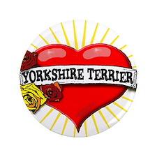 "Yorkshire Terrier Heart 3.5"" Button"