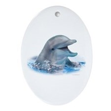 Happy Dolphin Ornament (Oval)
