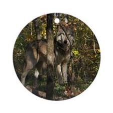 Wolf in Trees Ornament (Round)