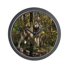 Wolf in Trees Wall Clock