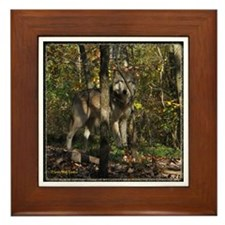 Wolf in Trees Framed Tile