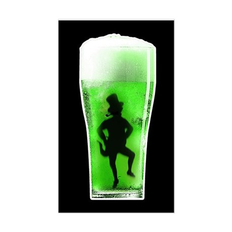 Green Beer Rectangle Sticker