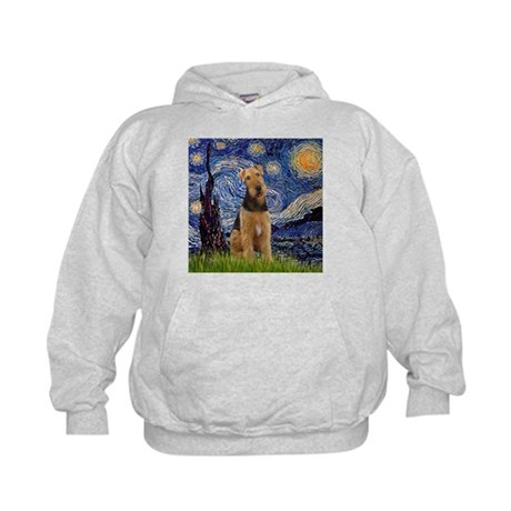 Starry Night & Airedale #6 Kids Hoodie