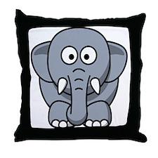 Cartoon Elephant Throw Pillow