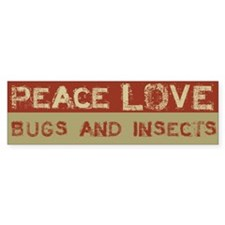 Peace Love Bugs and Insects Bumper Car Sticker