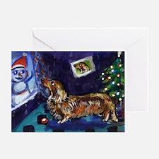 DACHSHUND longhair christmas Greeting Cards (Pack