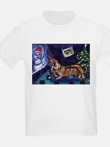 DACHSHUND longhair christmas  Kids T-Shirt