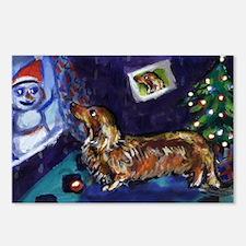 DACHSHUND longhair christmas  Postcards (Package o