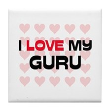 I Love My Guru Tile Coaster