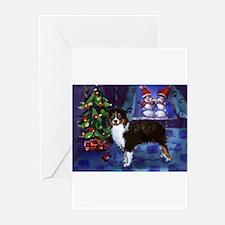 AUSTRALIAN SHEPHERD tri snowm Greeting Cards (Pack