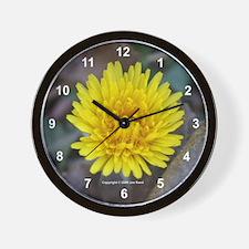 Yellow Dandelion Flower Wall Clock
