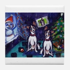 RAT TERRIER Christmas snowman Tile Coaster
